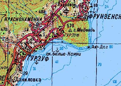 Белые камни - Адалары на старой карте Крыма